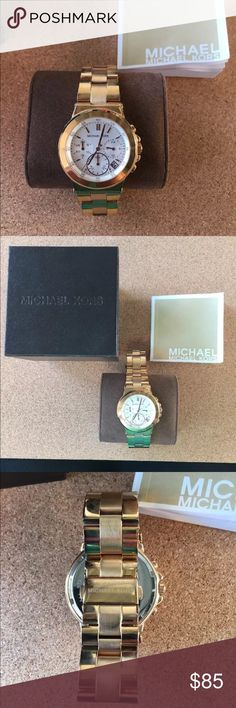 NWOT Michael Kors Gold Chronograph Watch Michael Kors Gold Chronograph Watch. Includes original box and extra links to adjust size. KORS Michael Kors Accessories Watches