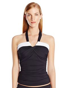 27302518860 Anne Cole Women s Color Blast Solids Bandeau Tankini