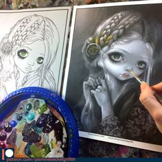New Patreon Exclusive Coloring Page - grayscale OR lineart direct from the artist!  #jasminebecketgriffith #strangeling #coloringbook #adultcoloringbook #adultcoloringbooks #coloringbooksforgrownups #coloringbooksforadults #fantasyart #art #painting #coloringbookforadults #bigeyes #bigeyeart #newcontemporary #grayscalecolorist #guinevere #preraphaelite #grayscale #grayscalecoloring #fairy #fairyart #popsurrealism #lowbrowart #coloring #coloringpage #coloringpages #patreon