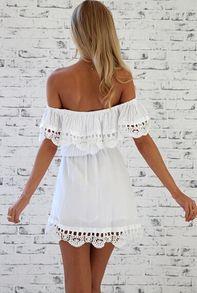 robe dentelle épaule dénudé -blanc