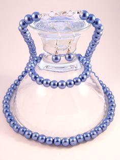 Handmade - Blue Pearl Glass Jewelry Set (Necklace + Earrings + Bracelet) Glass Jewelry, Jewelry Sets, Blue Pearl, Femininity, Pearls, Bracelets, Earrings, Handmade, Beauty