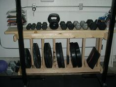 Build a rack to store your weights, dumbbells and kettlebells for your home gym. Of course, I would paint or stain mine to match the room.