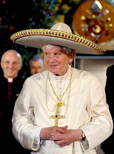 Pope Benedict XVI wearing a sombrero in Leon, Mexico on March 25, 2012.