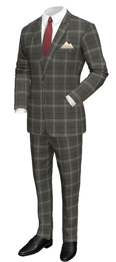 Grey 3-Piece checked 100% Wool Suit http://www.tailor4less.com/en/men/suits/2301-grey-3-piece-checked-100-wool-suit