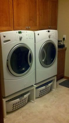 For front loading washing machines and dryers, I think it only makes sense to have pedestals of some kind beneath them. I'm open to store bought or homemade.