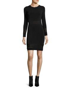 TQE4J Alice + Olivia Madie Mesh-Panel Fitted Dress, Black