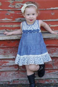 Denim & Cream Lace with Rosset Baby Dress, Western - Ruffles & Bowties Bowtique Baby Dress Design, Baby Girl Dress Patterns, Baby Girl Dresses, Cotton Frocks For Kids, Frocks For Girls, Kids Dress Wear, 1st Birthday Outfits, Denim And Lace, Baby Girl Romper