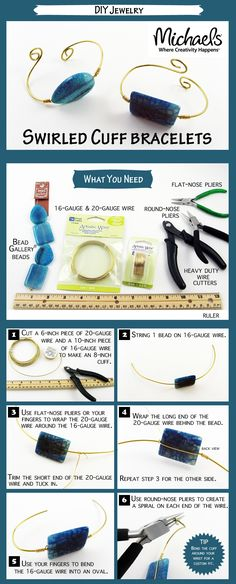 Learn to make your own swirled cuff bracelets with Bead Gallery beads and @beadalon's Artistic Wire, both of which are available at @michaelsstores  #madewithmichaels
