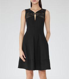 Womens Black Cutout Detail Dress - Reiss Clark