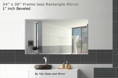 """Rectangle Wall Mirror Frameless Beveled 24"""" X 36"""" , Hook Included"""