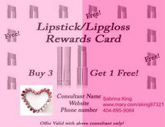 Mary Kay Lipstick / Lipgloss Rewards Card!!