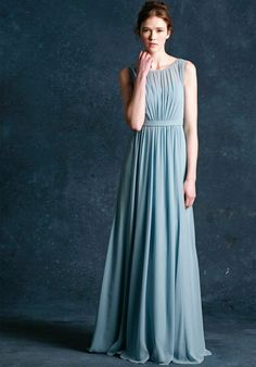 The Vivienne features a classic bateau neckline and the back neckline drops into a deep V.  Natural waist with soft gathers in the skirt creating an A shape in this floor length dress.   Luxe Chiffon