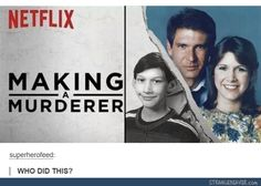 Making a Murderer Netflix Star Wars Episode VII Han Solo Princess Leia Kylo Ren Harrison Ford Carrie Fisher Adam Driver Star Citizen, Geeks, Starwars, Making A Murderer, Star Wars Meme, Star Trek, The Force Is Strong, Funny Tumblr Posts, Love Stars