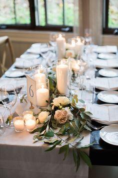 Charming candlelit wedding table decor: Blue New Bedford Inn Fall Wedding