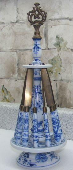 Sada kuchyňských nožů * porcelán malovaný cibulovým vzorem CZ.