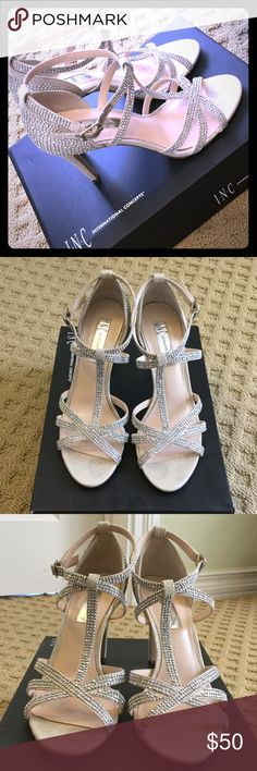 """Pearl Gold Studded Strappy Heels Like-New! Worn for one night...a wedding!! INC International Concepts, 3.5"""" heel, size 6. No studs missing. Beautiful """"pearl gold"""" color. INC International Concepts Shoes Heels"""