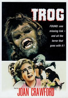 TROG 1970 * JOAN CRAWFORD's last, worst & saddest film. Not worth watching for even camp value. Truly horrid & awful. Don't waste your time. As funny as seeing your mother drunk. A truly humiliating & exploitative shocker. (please follow minkshmink on pinterest) #trog
