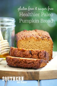 The Best Healthy Paleo Pumpkin Bread - canned/homemade pumpkin puree, honey (sub another sweetener), vanilla extract, butter/coconut oil, unsweetened applesauce, eggs, coconut flour, almond meal, cinnamon/pumpkin pie spice (optional), baking soda
