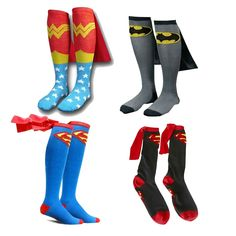 Mens Cotton Socks MARVEL Super Hero Superman Batman Knee High With Cape Stockings Cosplay Costume Socks Props Gifts Product Description Material:Cotton+Polyester Size:One size, Fits most but generally foot size Package pair Product show Halloween Cosplay, Halloween Outfits, Cosplay Costumes, Superman, Batman Socks, Luigi Costume, Superhero Cosplay, Kids Suits, Family Outfits