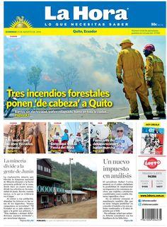 Los temas destacados son: Tres incendios forestales ponen 'de cabeza' a Quito, La minería divide a la gente de Junín, Un tesoro que se abre 150 años después, Sangolquí vive la fiesta del Maíz, Familiares de desaparecidos hacen marcha y  Un nuevo impuesto en análisis.