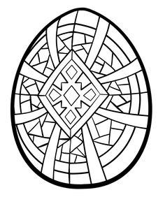 Easter Egg Coloring Pages Printable | An urdee cross or simplified 'sun-burst' design surrounded by stained ...