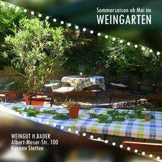 Wir freuen uns schon auf gemütliche Stunden im WEINGARTEN Weingut H.Bader! :) Bei dem Wetter heute ist es schon mal erlaubt an die Sommerzeit zu denken... ;)