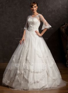 e09c7891f4f47 Ball-Gown V-neck Floor-Length Satin Tulle Wedding Dress With Lace Beading