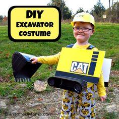 DIY Excavator Costume at B-InspiredMama.com #kids #costume #diy #kbn