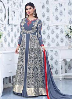 Buy Suave Mouni Roy Faux Georgette Designer Floor Length Suit #DesignerSuits #pantstylesuit #pantstylesalwar #floorlengthsuit #onlineshopping #discount #sale