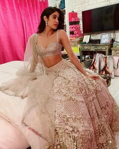 Find the latest Bollywood celebrity inspired lehenga designs for weddings. Check Lehenga designs worn by Alia Bhatt, Katrina Kaif, Shradhha Kapoor. Indian Wedding Outfits, Bridal Outfits, Indian Outfits, Indian Attire, Indian Wear, Indian Reception Outfit, Wedding Attire, Wedding Dress, Indian Bridesmaids