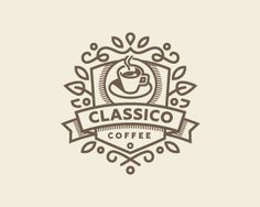 Coffee Logos Template Calligraphic Ornament Lines Stock Vector (Royalty Free) 1543175090 Coffee Shop Logo, Coffee Branding, Logo Restaurant, Logo Samples, Logos, Cafe Logo, Shield Logo, Studio Logo, Lettering