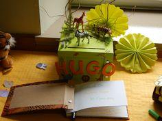 Livre d'or et boîte à cadeaux sur le thème jungle, réalisé par Chä&co. Les Themes, Or, Gift Wrapping, Gifts, Gift Wrapping Paper, Presents, Wrapping Gifts, Favors, Gift Packaging