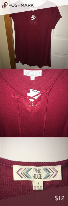 NEW!!! Brand new t-shirt! BRAND NEW! Super cute t-shirt that has never been worn before. Tag still on. Size small. Color-Maroonish red Pink Rose Tops Tees - Short Sleeve