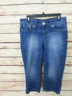 Seven7 jeans cropped capris womens size 8 dark wash sandblasted #Seven7 #CapriCropped
