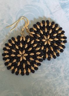 Seed Bead Earrings Big Bold Black And Gold Disc by WorkofHeart