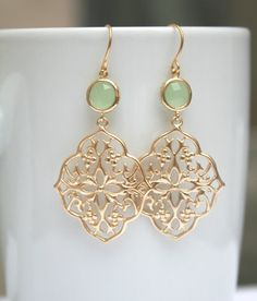 Mint Earrings in Gold. Gold Filigree Earrings. by BellaJewelsInc, $26.00