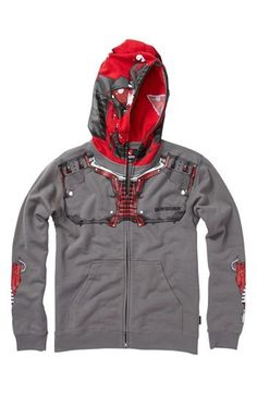 A comfy hooded sweatshirt zips all the way up to form a cool mask.A comfy hooded sweatshirt zips all the way up to form a cool mask. Color(s): charcoal. Brand: Quiksilver. Style Name: Quiksilver Mask Hoodie (Little Boys)- Mask Hoodie (Little Boys), $59.50