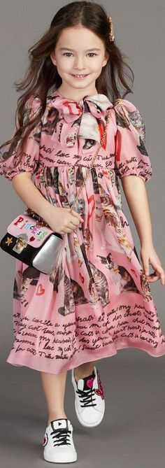 ON SALE!!! DOLCE & GABBANAGirls Pink Cat Silk Dress #girl #dolcegabbana #kidsfashion #kidsstyle