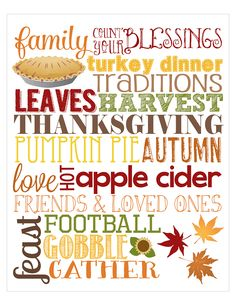 15 Thanksgiving Printables- Subway Art #scrapbookprintables