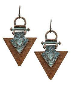 Burnished Copper Tone / Brown Wood / Lead Compliant / Patina Metal / Fish Hook / Dangle / Earring Set