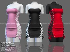 NitroPanic - The sims 4 CC Lace Up Dress Package Info: 11 Swatches Dress. Sims Four, Sims 4 Mm, Sims 4 Mods Clothes, Sims 4 Clothing, Female Clothing, Vêtement Harris Tweed, Sims 4 Body Mods, Sims 4 Anime, Sims 4 Black Hair