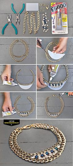 SWAROVSKI GEM & CHAIN NECKLACE - 16 Chic DIY Projects Your private home is your castle, and with a few do-it-on your own ingenuity you are able to renovate your house with astonishing creative imagina Diy Schmuck, Schmuck Design, Necklace Tutorial, Diy Necklace, Rhinestone Necklace, Collar Necklace, Diamond Necklaces, Gemstone Necklace, Jewelry Crafts