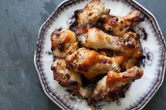 Tasty chicken drummettes.  The meaty part of the chicken wing, marinated in garlic, honey, Dijon, soy sauce, and lemon juice, then roasted in the oven.
