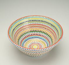 Serving Bowl Stripes and Dots Hand Painted Colorful Fruit or Small Mix Bowl via Etsy