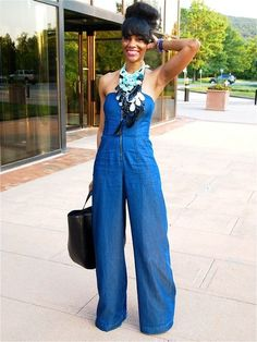 21 Fabulous Jumpsuit Trends for Women 2014 Lovely summer outfit - denim blue flared jumpsuit with stackable necklaces and black leather bag oh and the hairdo looks great Looks Total Jeans, I Love Fashion, Womens Fashion, Summer Outfits, Cute Outfits, Denim Jumpsuit, Denim Jumper, Strapless Jumpsuit, Street Style