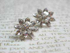 { Wedding Flower Stud Earrings, Sparkly Wedding Earrings, Swarovski Crystals. $48.00, via Etsy. }