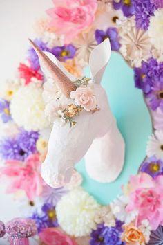 Paper mache unicorn heads are so easy + fun to make.