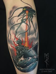 #waroftheworlds #hgwells #steampunk #tattoo #tattoos #neotraditional