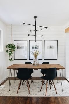 Dining Room Lighting Refresh with AllModern — Mountainside Home Dining Room Walls, Dining Room Design, Living Room Decor, Dining Room Modern, Industrial Dining Rooms, Kitchen With Dining Room, Ikea Dinning Room, Dining Living Room Combo, Dinning Room Ideas