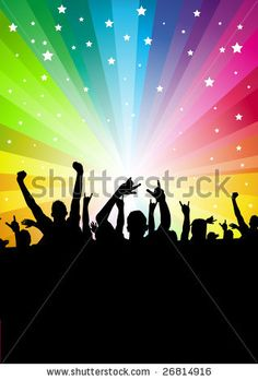 A crowd of people cheering. Vector illustration. 26814916